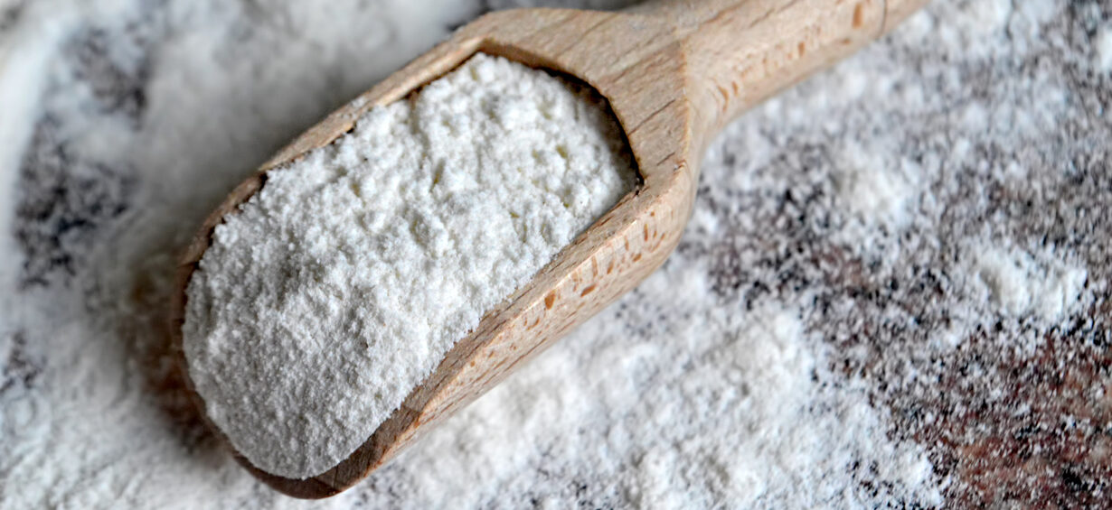 Flour in a wheat scoop