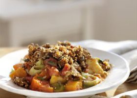 Root vegetable and nut crumble