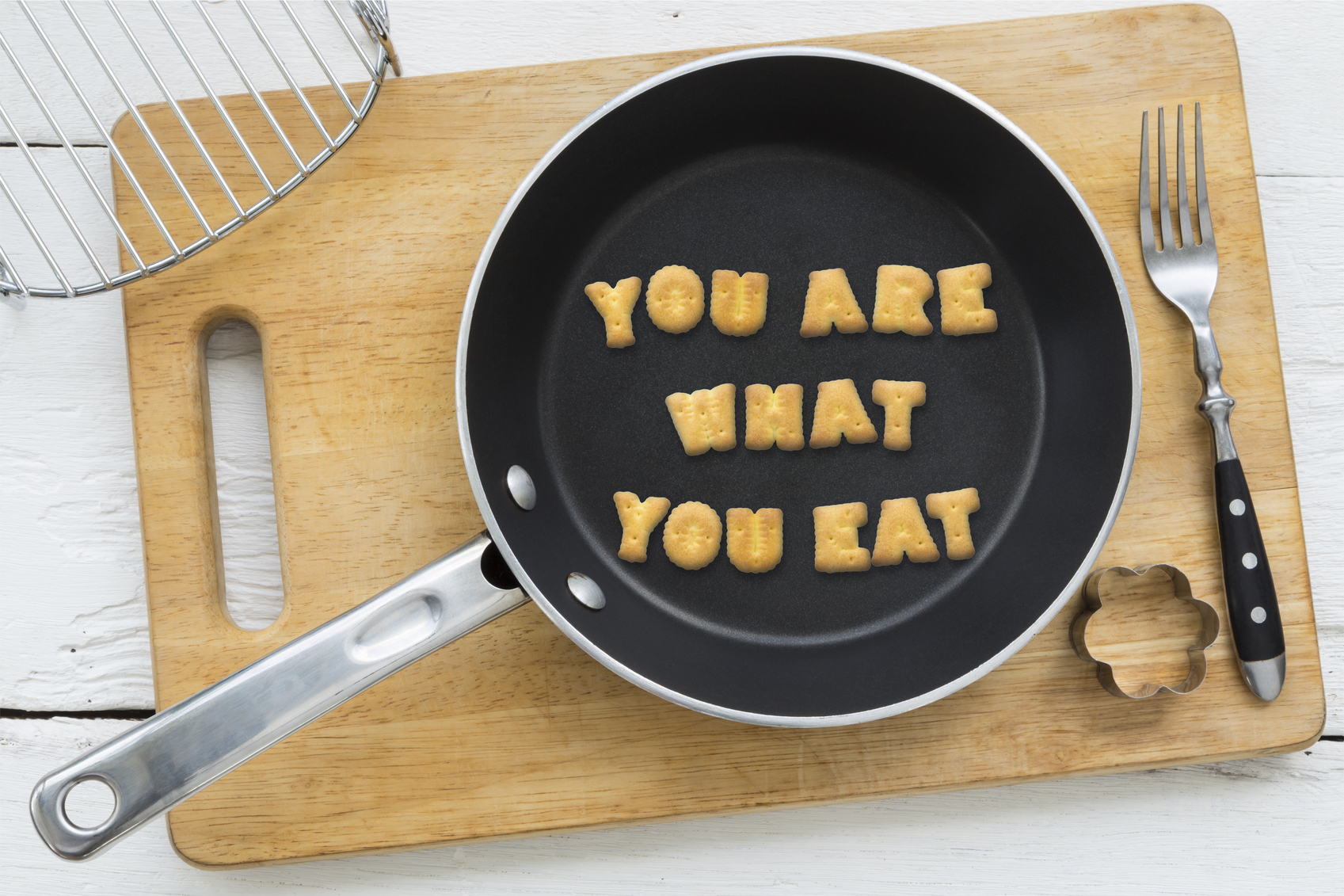Letter Biscuits Quote You Are What You Eat And Cooking Equipments Fab